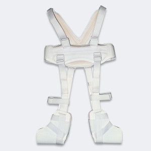 Il divaricatore di Pavlik mod. 116 mantiene gli arti flessi-abdotti ed extraruotati, mentre lascia libere le anche per consentirne il corretto movimento e la posizione non displasica acetabolo/femorale. E' composto da una fascia toracica e bretellaggi in morbido tessuto imbottito, ancoraggi per i piedi in pelle con chiusure a velcro