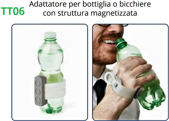 Elemento TACTEE adattatore per bottiglia o bicchiere con struttura magnetizzata