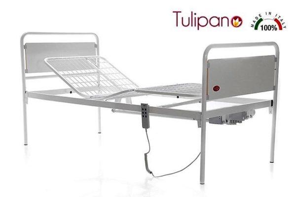 Letto Tulipano con Rete a Segmenti Comando Elettrico Largo 90 cm Ml120